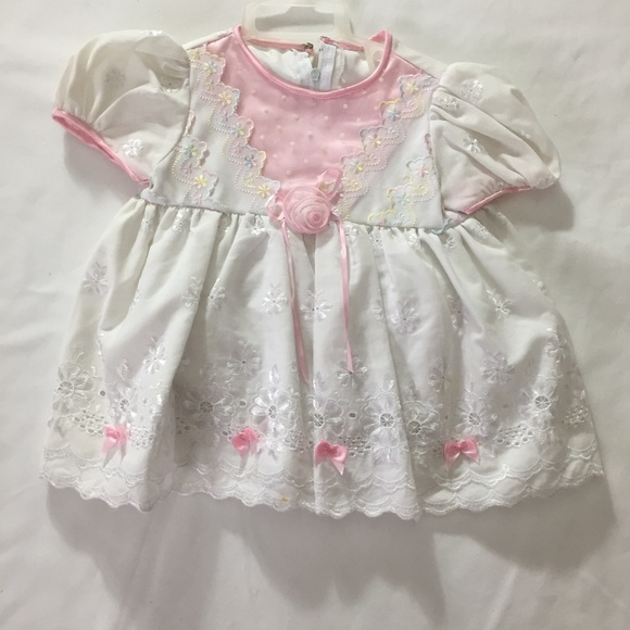ea73e6a86775 Baby Girls White Pink Floral Embroidered dress